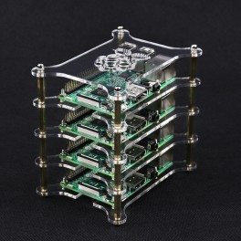 Stapelbare behuizing - helder - voor 4 Raspberry Pi's